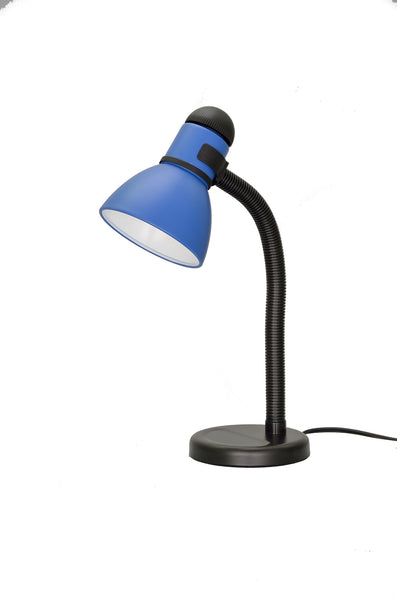 "# 40039-3 One Light Desk Lamp with a Metal Lamp Shade and Rotary Switch, Modern Design in a Black & Blue, 19"" High"