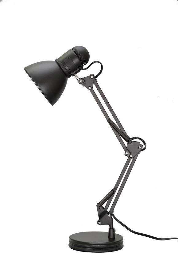 # 40040-1, One-Light Swing Arm Task Lamp with Metal Lamp Shade and Rotary Switch, Modern Design in Black, 17
