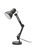 "# 40040-1, One-Light Swing Arm Task Lamp with Metal Lamp Shade and Rotary Switch, Modern Design in Black, 17"" High"