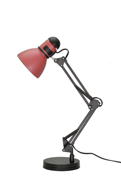 "# 40040-2 One Light Swing Arm Task Lamp, Metal Lamp Shade, Rotary Switch, Modern Design in Black & Burgundy, 17"" High"