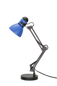 "# 40040-3, One-Light Swing Arm Task Lamp with Metal Lamp Shade and Rotary Switch, Modern Design in Black & Blue, 17"" High"