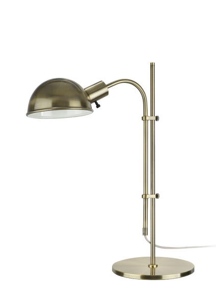 "# 40043 27"" High Modern Adjustable Metal Desk Lamp, Rotary Switch, in Satin Nickel Finish with  Metal Lamp Shade, 18"" W"