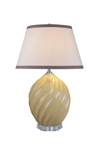 "# 40044-2 26 1/2"" H Traditional Ceramic Table Lamp, Daffodil Yellow, Crystal Base, White Empire Shaped Shade, 17 1/2"" W"
