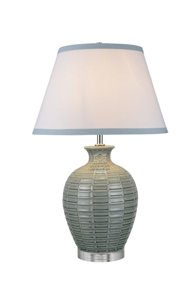 "# 40045 27 1/2"" High Traditional Ceramic Table Lamp, Crackle Celadon with Crystal Base, White Empire Shaped Shade, 18"" W"