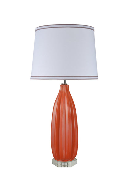 "# 40046-1 32 1/2"" High Traditional Ceramic Table Lamp, Tangerine with Crystal Base and White Empire Shaped Lamp Shade, 16"" W"