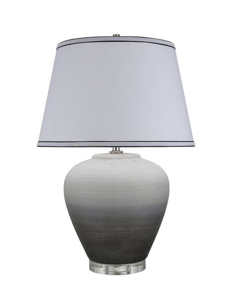"# 40048 24"" High Traditional Ceramic Table Lamp, Ombre Black with Crystal Base and White Empire Shaped Lamp Shade, 16"" W"