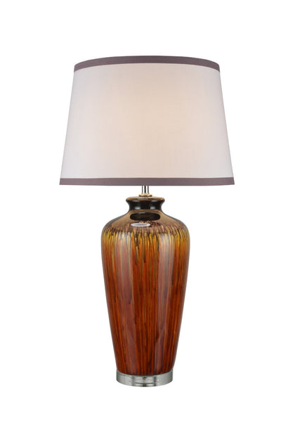 "# 40049 32 1/2"" High Traditional Ceramic Table Lamp, Dripped Glaze,  Crystal Base, White Empire Shaped Shade, 17 1/2"" W"