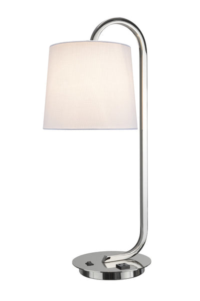 "# 40054 25 1/2"" High Modern Metal Desk Lamp in Polished Nickel Finish with an Off White Linen Fabric Lamp Shade, 9 1/2"" W"