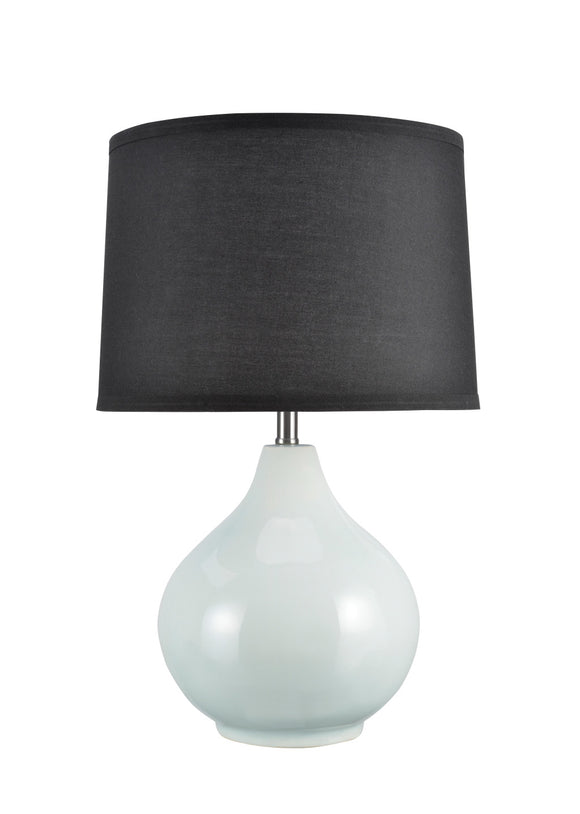 "# 40062-2  21"" High Traditional Ceramic Table Lamp, Pale Sea Green with Black Hardback Empire Shaped Shade, 13"