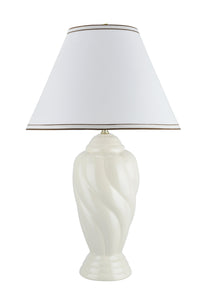 "# 40064-1, 30"" High Traditional Ceramic Table Lamp, Off White Finish with Hardback Empire Shaped Lamp Shade in Off White, 18"" Wide"