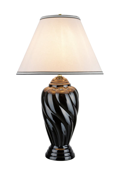 "# 40064-2 30"" High Traditional Ceramic Table Lamp, Black with Off White Hardback Empire Shaped Shade, 18"" W, REGULAR PRICE $158.99 - Now..."