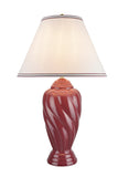 "# 40064-3, 30"" High Traditional Ceramic Table Lamp, Burgundy Finish with Hardback Empire Shaped Lamp Shade in Off White, 18"" Wide"