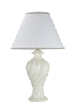 "# 40065, 29 1/2"" High, Traditional Ceramic Table Lamp, Off-White with Hardback Empire Shaped Lamp Shade in Off-White, 18"" Wide"