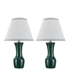 "# 40066-2 Two Pack 20"" High, Traditional Ceramic Table Lamp, Green with Off-White Hardback Empire Shaped Shade, 12 1/2"" W"