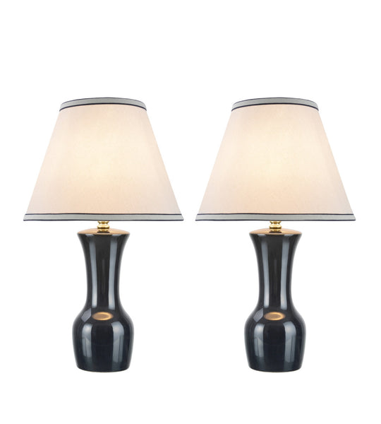 "# 40066-3 Two Pack 20"" High, Traditional Ceramic Table Lamp, Dark Grey with Hardback Empire Shaped Lamp Shade in Off-White, 12 1/2"" W"