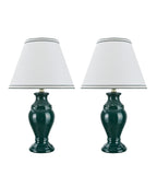 "# 40067-1 Two Pack 19 1/2"" High, Traditional Ceramic Table Lamp, Green with Hardback Empire Shaped Lamp Shade in Off-White, 12"" W"