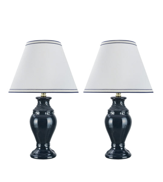 "# 40067-2 Two Pack 19 1/2"" High, Traditional Ceramic Table Lamp, Dark Blue with Off-White Hardback Empire Shaped Lamp Shade, 12"" W"