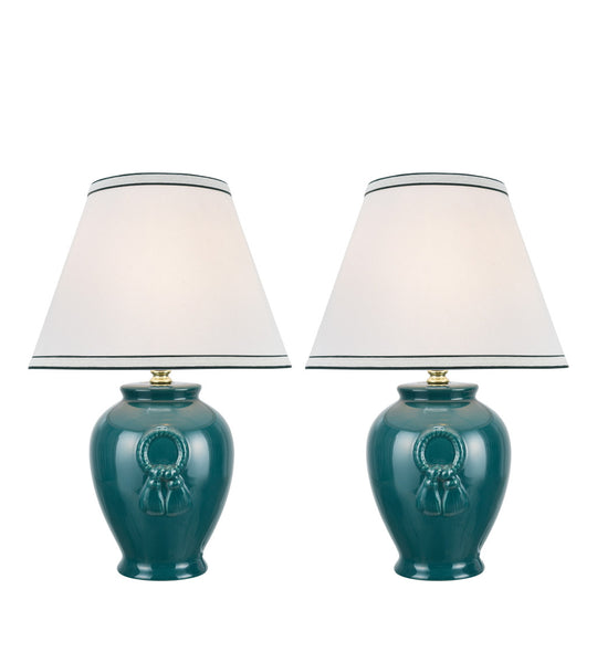 "# 40069-2 Two Pack 17"" High, Traditional Ceramic Table Lamp, Green with Hardback Empire Shaped Lamp Shade in Off-White, 11 1/2"" W"