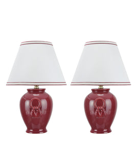 "# 40069-3 Two Pack 17"" High, Traditional Ceramic Table Lamp, Burgundy with Hardback Empire Shaped Lamp Shade in Off-White, 11 1/2"" W"
