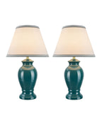"# 40071 Two Pack Set 21 1/2"" High, Traditional Ceramic Table Lamp, Green, Hardback Empire Shaped Lamp Shade in Off-White, 13"" W"
