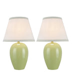 "# 40073-1 Two Pack 19"" High Traditional Ceramic Table Lamp, Light Green with Hardback Empire Shaped Lamp Shade in Off-White, 12"" W"