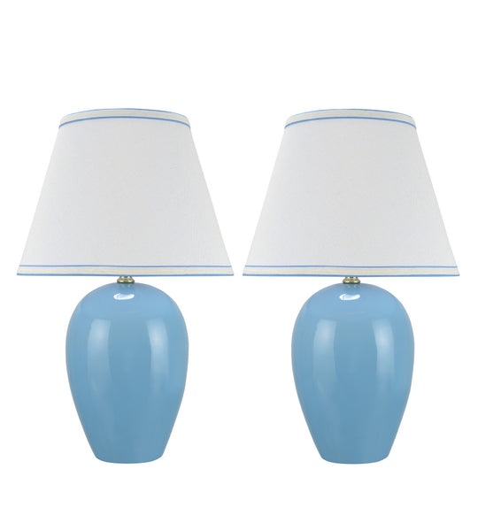 "# 40073-2 Two Pack 19"" High Traditional Ceramic Table Lamp, Light Blue with Hardback Empire Shaped Lamp Shade in Off-White, 12"" W"