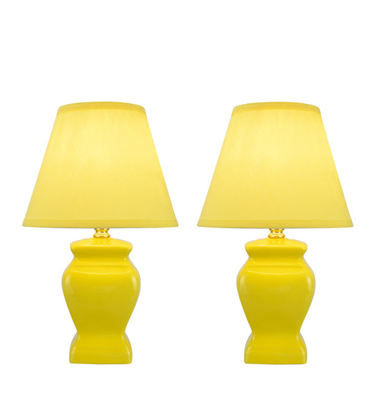 "# 40074-1 Two Pack 14 1/2"" High, Traditional Ceramic Table Lamp, Yellow with Hardback Empire Shaped Lamp Shade in Yellow, 9"" W"