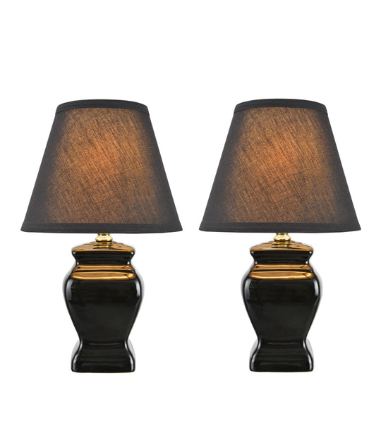 "# 40074-3 Two Pack  14 1/2"" High, Traditional Ceramic Table Lamp, Black with Hardback Empire Shaped Lamp Shade in Black, 9"" W"