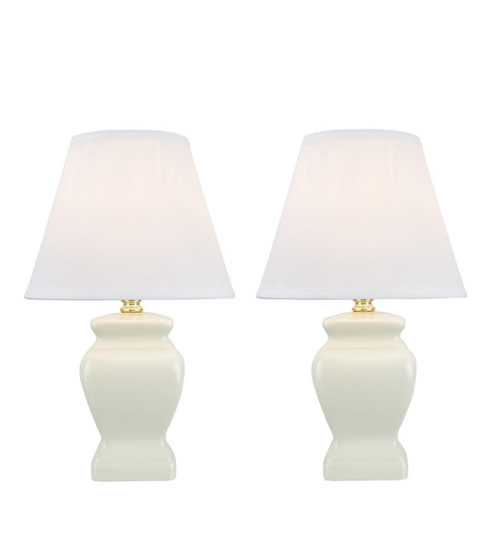 "# 40074-4 Two Pack 14 1/2"" High, Traditional Ceramic Table Lamp, White with Hardback Empire Shaped Lamp Shade in White, 9"" W"