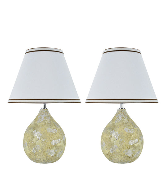 "# 40075, Two Pack Set, 18"" High Transitional Ceramic Table Lamp, Moss Finish with Hardback Empire Shaped Lamp Shade in Off White, 12"" Wide"