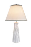 "# 40077, 24"" High, Traditional Ceramic Table Lamp, Marble with Hardback Empire Shaped Lamp Shade in Off-White, 14"" Wide"