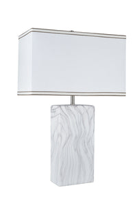"# 40078, 25 1/2"" High Transitional Ceramic Table Lamp, Marble Finish with Hardback Rectangle Shaped Lamp Shade in Off White, 16"" + 8"" Wide"
