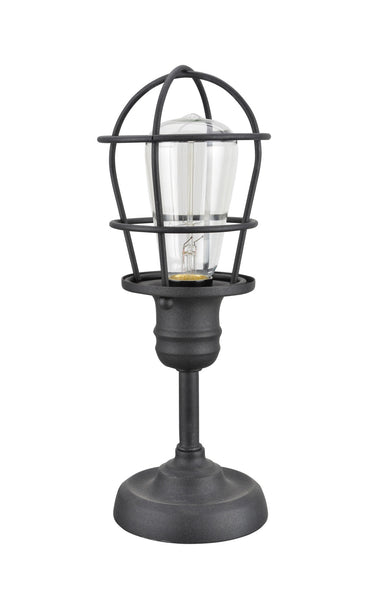 "# 40080 Wire Cage Metal Accent Lamp, Vintage Design, Sand Black Finish, 11 1/2"" H"