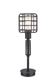 "# 40081, Wire Cage Metal Table Lamp, Vintage Design in Sand Black Finish, 18"" High"