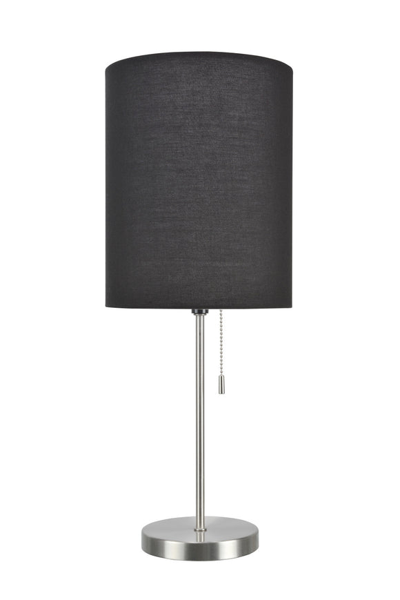 # 40083-3 One Pack Set - 1 Light Candlestick Table Lamp, Contemporary Design, Satin Nickel Finish with Black Shade, 19 1/2