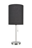 "# 40083-3 One Pack Set - 1 Light Candlestick Table Lamp, Contemporary Design, Satin Nickel Finish with Black Shade, 19 1/2"" High"