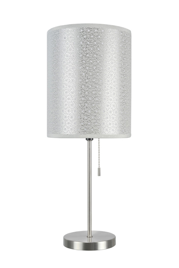 # 40083-8 One Pack Set - 1 Light Candlestick Table Lamp, Contemporary Design in Satin Nickel with Silver Shade, 19 1/2