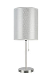 "# 40083-8 One Pack Set - 1 Light Candlestick Table Lamp, Contemporary Design in Satin Nickel with Silver Shade, 19 1/2"" High"