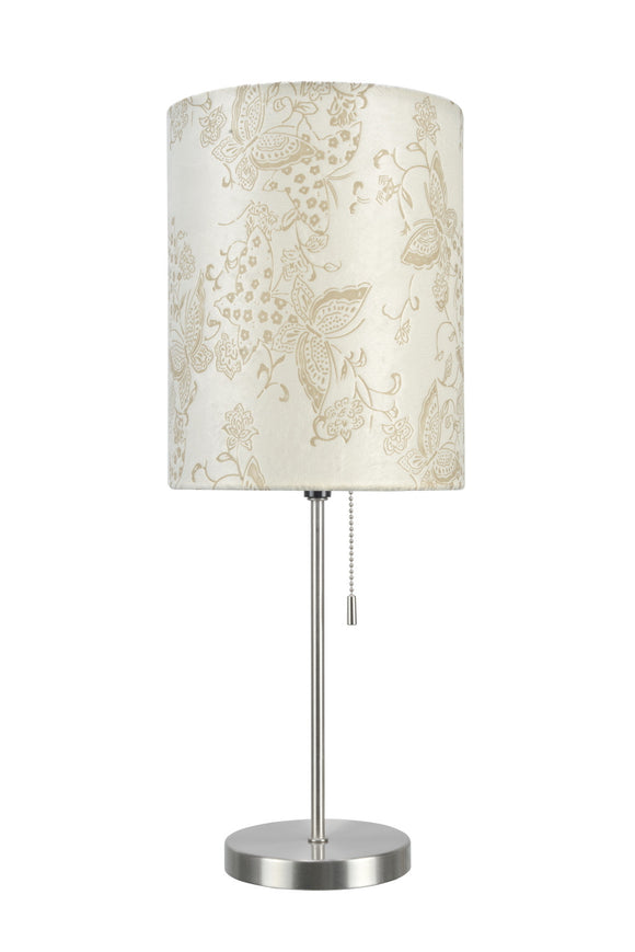 # 40083-9 One Pack Set - 1 Light Candlestick Table Lamp, Contemporary Design, Satin Nickel, Ivory Butterfly Shade, 19 1/2