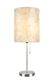 "# 40083-9 One Pack Set - 1 Light Candlestick Table Lamp, Contemporary Design, Satin Nickel, Ivory Butterfly Shade, 19 1/2"" H"