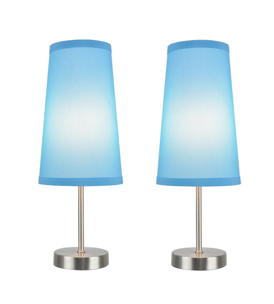 "# 40084-7 2-Pack Set - 1 Light Candlestick Table Lamp, Contemporary Design, Satin Nickel with Sky Blue Shade, 14 1/4"" High"