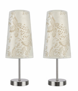 "# 40084-9 2-Pack Set - 1 Light Candlestick Table Lamp, Contemporary Design, Satin Nickel, Ivory Butterfly Shade, 14 1/4"" High"
