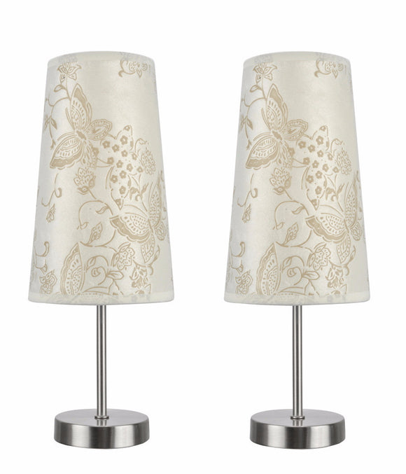# 40084-9 2-Pack Set - 1 Light Candlestick Table Lamp, Contemporary Design, Satin Nickel, Ivory Butterfly Shade, 14 1/4