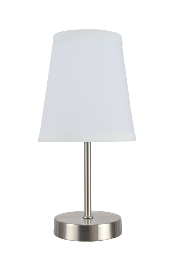 # 40085-1 One Pack Set - 1 Light Candlestick Table Lamp, Contemporary Design in Satin Nickel Finish with White Shade, 10