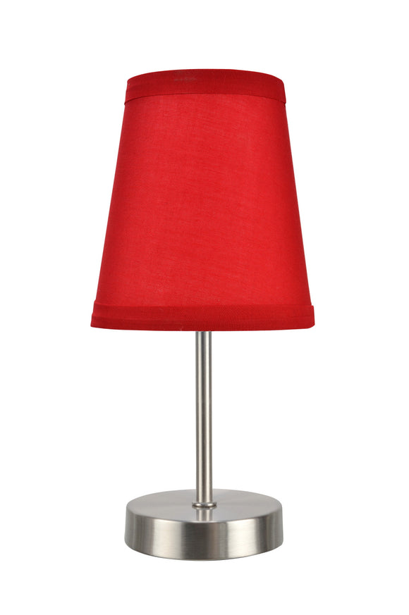 # 40085-2 One Pack Set - 1 Light Candlestick Table Lamp, Contemporary Design in Satin Nickel Finish with Red Shade, 10
