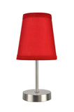 "# 40085-2 One Pack Set - 1 Light Candlestick Table Lamp, Contemporary Design in Satin Nickel Finish with Red Shade, 10"" High"