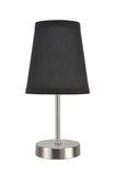 "# 40085-3 One Pack Set - 1 Light Candlestick Table Lamp, Contemporary Design in Satin Nickel Finish with Black Shade, 10"" High"