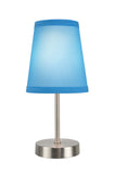 "# 40085-7 One Pack Set - 1 Light Candlestick Table Lamp, Contemporary Design in Satin Nickel Finish with Sky Blue Shade, 10"" High"
