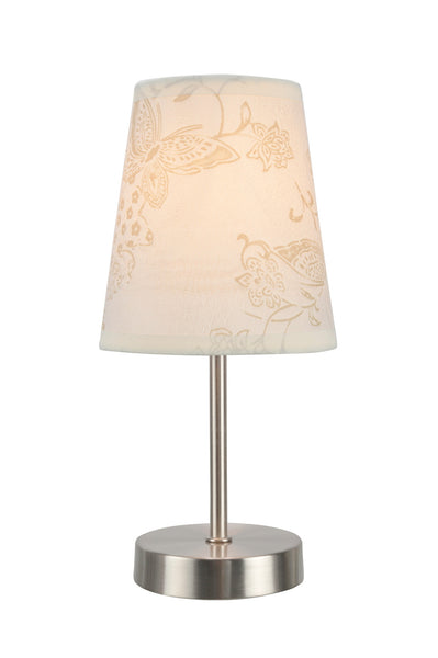 "# 40085-9 One Pack Set - 1 Light Candlestick Table Lamp, Contemporary Design, Satin Nickel, Ivory Butterfly Design Shade, 10"" H"