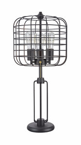 "# 40086 Wire Cage Metal Table Lamp, Vintage Design in Sand Black, 26"" High"